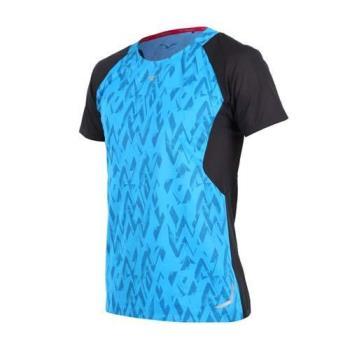 MIZUNO 男路跑短袖T恤-短T 慢跑 路跑 藍黑銀