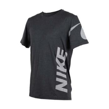 NIKE 男針織短袖上衣-短袖T恤 慢跑 路跑 深灰白