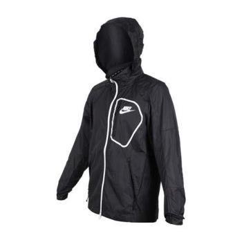 NIKE 男子防風外套-風衣外套 連帽外套 慢跑 路跑 黑白