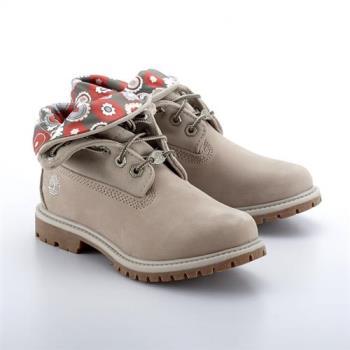 Timberland女款款米色正絨面皮革搭葡萄葉綠泡泡印花 翻領靴A1N8QK51