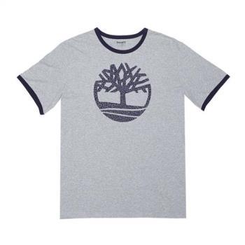 Timberland男款 中灰色麻灰短袖圓形大樹LOGOT恤A1LTO052