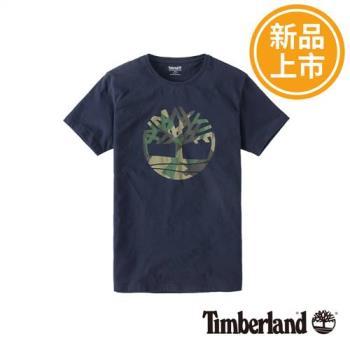 Timberland男款暗藍色短袖KennebecRiver大樹LOGOT恤A1M18K52