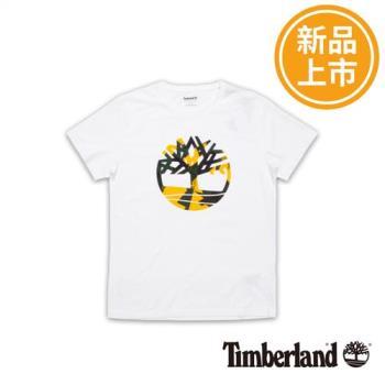 Timberland男款白色短袖KennebecRiver大樹LOGOT恤A1M18K76