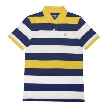 Timberland男女款檸檬黃MillersRiver英式橄欖球網眼橫條紋POLO衫A1LT1K08