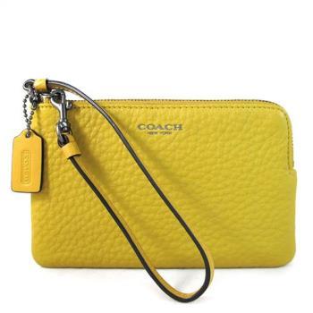 COACH BLEECKER 橙黃色荔枝紋皮革L型萬用手拿包