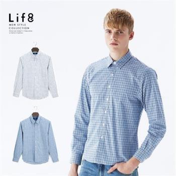 Life8-Casual 雅致格紋 彈性長袖襯衫-10009