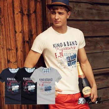 男人幫-美式潮流款英文隨性圖壓造型T恤 (T1357)