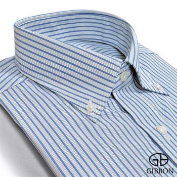 GIBBON 精選條紋修身長袖襯衫‧深藍