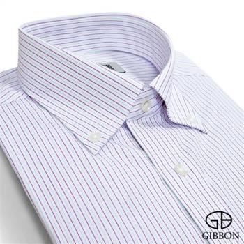 GIBBON 精選條紋修身長袖襯衫‧藍紫條
