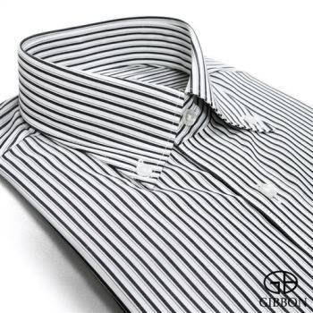 GIBBON 精選條紋修身長袖襯衫‧黑色