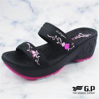 G.P 女款厚底雕花雙帶拖鞋G8531W-黑桃色(SIZE:35-39 共二色)