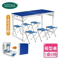 MIDAS好收納萬用箱型桌-一桌六椅組(藍色)