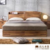 【日本直人木業】STYLE積層木附插座6尺雙人加大床加床墊(床頭加床底加床墊三件組)