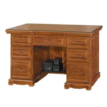 Boden-德夫4.4尺全實木主管辦公桌(附強化玻璃桌面)