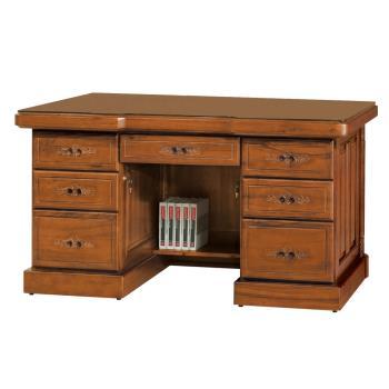 Boden-泰爾5.8尺全實木主管辦公桌(附強化玻璃桌面)