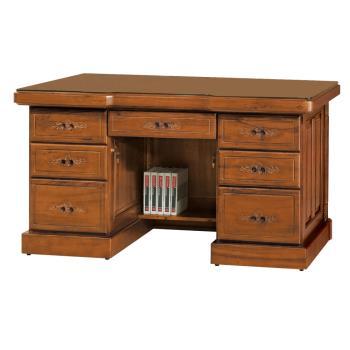 Boden-泰爾5.1尺全實木主管辦公桌(附強化玻璃桌面)
