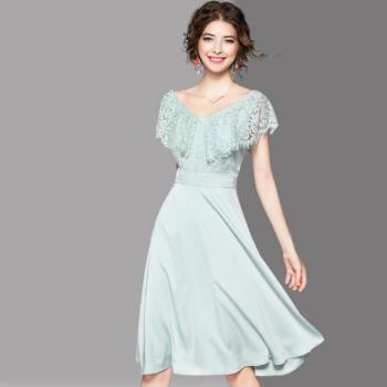 RN-girls-精品極美蕾絲荷葉袖純色短袖小洋裝中長款小禮服