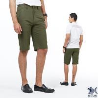 【NST Jeans】深橄欖綠 滑爽微彈斜口袋休閒短褲(中腰) 390(9429)