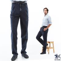 【NST Jeans】機能竹籤纖維 單寧法國經典款_打摺牛仔褲(中高腰寬版) 002(8705) 大尺碼熟男/斜口袋