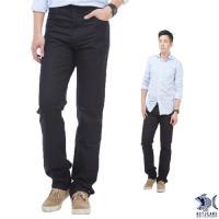 【NST Jeans】Timeless光澤黑 冰涼節能 直紋休閒褲(中低腰窄版) 380(5615)