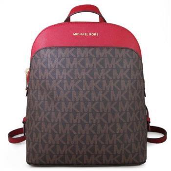 MICHAEL KORS EMMY金字滿版LOGO十字紋防刮皮革雙肩後背包(櫻桃紅色/大)