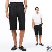 【NST Jeans】低調公爵 光澤黑印花 七分休閒褲(中高腰 鬆緊帶 寬版) 002(9446)