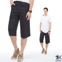 【NST Jeans】禪意亞麻黑 冰涼節能 七分休閒褲(中高腰 鬆緊帶 寬版) 002(9442)