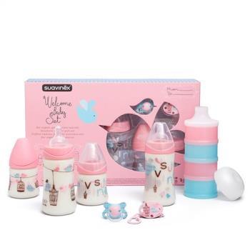 奇哥 Suavinex 寬口奶瓶+安撫奶嘴禮盒 (粉色)