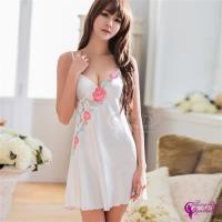 Sexy Cynthia 純白花漾刺繡緞面性感睡衣