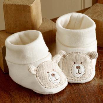 英國「Natures Purest」天然純綿-抱抱熊嬰兒軟鞋(0-6m)