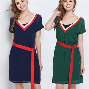 【麗質達人】5582雪紡綁帶V領洋裝(L-5XL)