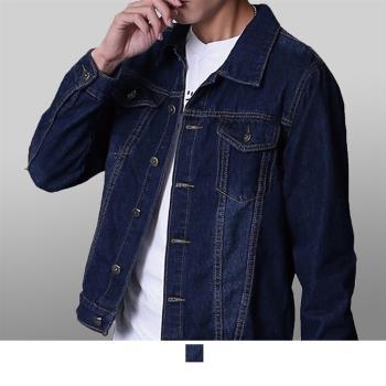 男人幫-深色系韓版休閒素面修身復古牛仔外套(CB009)