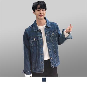 男人幫-韓國修身輕彈性原色丹寧牛仔外套 刷色單寧(CB002)