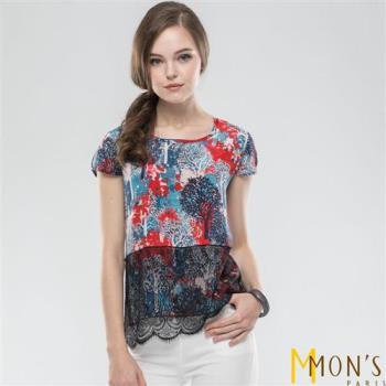 MONS典雅蕾絲工藝100%蠶絲上衣