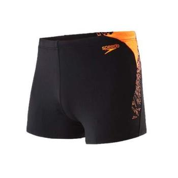 SPEEDO BOOM SPLICE 男運動四角泳褲-競賽 泳裝 游泳 戲水 黑螢光橘