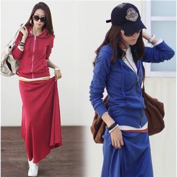 A3 美模彈性純色休閒套裝裙組(紅色/藍色/黑色)