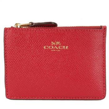 COACH 燙金馬車素色防刮皮革鑰匙零錢包(深紅)