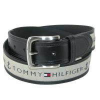 Tommy Hilfiger 2018男時尚灰織帶鑲嵌黑色皮帶(預購)