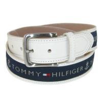 Tommy Hilfiger 2018男時尚寶藍織帶鑲嵌乳白色皮帶(預購)