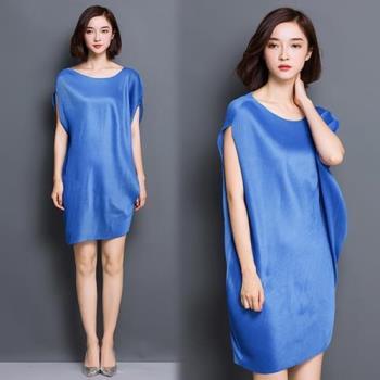 韓國KW 現貨歐美時尚皺褶圓領無袖連身裙