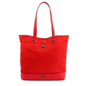 COACH 馬車LOGO尼龍材質肩背直式大款購物包(紅色)
