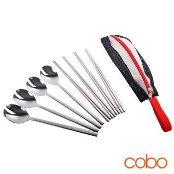 cobo 304不鏽鋼實心扁筷湯匙/韓式餐具8件組
