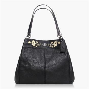 COACH 實搭耐用 卵石皮革 / 手提 / 肩背三層包(花卉刺繡) 黑色
