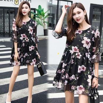 韓國KW 現貨甜美優雅網紗拼接印花洋裝