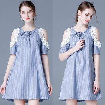 韓國KW 現貨甜美造型蕾絲露肩修身洋裝