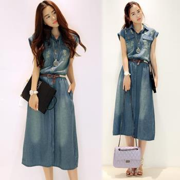 韓國KW 現貨韓系個性俐落中長版修身牛仔洋裝