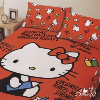 BUTTERFLY-Kitty凱蒂貓 搖粒絨刷毛雙人加大床包三件組--我的筆記本