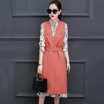 Jisen 中大尺碼腰帶造型兩件式洋裝(橘粉/藍)