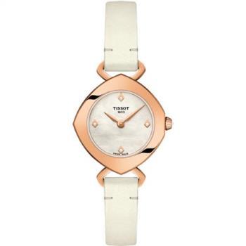 TISSOT 天梭Femini-T 清秀佳人珍珠貝真鑽女錶(白/23mm) T1131093611600