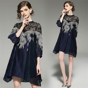 【M2M】圓領蕾絲氣質繡花七分袖洋裝M-2XL